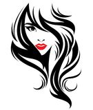 Härliga kvinnor, logokvinnor vänder mot makeup på vit bakgrund, vektor stock illustrationer