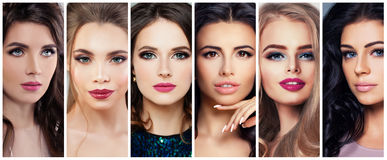 Härliga kvinnor med perfekt makeup Skönhetcollage, gulliga framsidor Royaltyfria Bilder