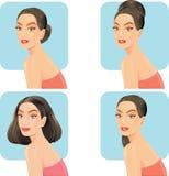 Härliga kvinnor med stilar för ansikts- hår Royaltyfri Foto