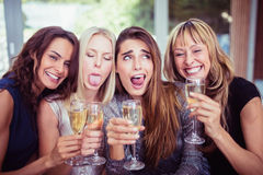 Härliga kvinnor som gör roliga framsidor Royaltyfria Bilder