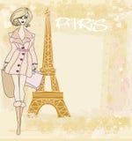 härliga kvinnor som shoppar i Paris Arkivbilder