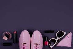 Härliga kvinnors minsta uppsättning av modetillbehör Royaltyfri Fotografi