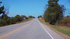 Härliga landsvägar i Oklahoma - POV-körning arkivfilmer