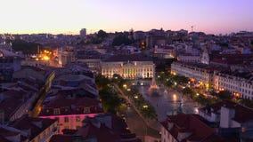 Härliga Lissabon i aftonen - flyg- sikt - LISSABON/PORTUGAL - JUNI 14, 2017 arkivfilmer