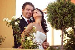 Härliga lyckliga par i natur Arkivfoton
