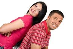 Härliga lyckliga par med stort leende Arkivfoton