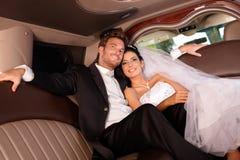 Härliga lyckliga par på bröllop-dag Royaltyfri Fotografi