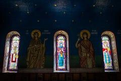 Härliga målat glassfönster Arkivbilder