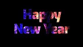 Härliga mång- kulöra fyrverkerier till och med det lyckliga nya året för text Sammansättning för berömmen för nytt år brigham stock illustrationer