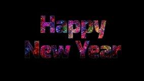 Härliga mång- kulöra fyrverkerier till och med det lyckliga nya året för text Sammansättning för berömmen för nytt år brigham royaltyfri illustrationer