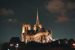 Härliga Notre Dame de Paris på natten arkivbilder