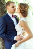 Härliga nygifta personer som in kramar, parkerar royaltyfria bilder
