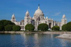 Härliga och historiska Victoria Memorial på Kolkata, Indien Arkivfoto