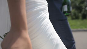 Härliga par av nygifta personer som går i parkera arkivfilmer