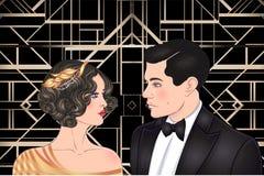 Härliga par i art décostil Retro mode: glamourman a stock illustrationer