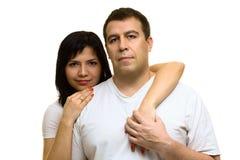 härliga par man den starka kvinnan Arkivfoto