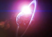 Härliga planeter i djupa svarta kosmos med utrymme Royaltyfri Bild
