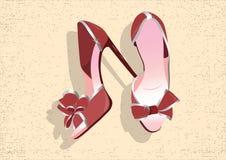 Härliga röda shinning skor Arkivbilder