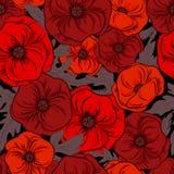 Härliga röda vallmoblommor med sidor på svart bakgrund seamless modell Tyg tapetdesign blom- seamless textur royaltyfri illustrationer