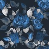 härliga ro för bakgrund Sömlös modell med hand-drog blommor 13 Fotografering för Bildbyråer