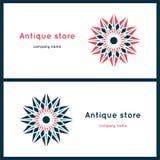 Härliga runda logoer stylized blomma Enkel geometrisk logo Royaltyfri Fotografi