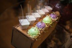Härliga söta efterrätter Panna cotta och färgrik souffle royaltyfri bild
