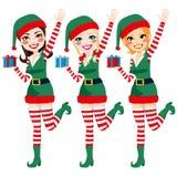 Härliga Santa Elf Helpers vektor illustrationer