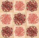 Seamless mönstrar med dekorativt kvadrerar och blommar Arkivfoto