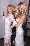 Härliga sexiga flickor med blont hår i lyxiga klänningar, hållande exponeringsglas av champagne i händer, Arkivfoton