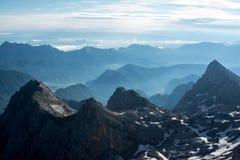 Härliga sikter av den Triglav nationalparken - Julian Alps, Slovenien Arkivbild