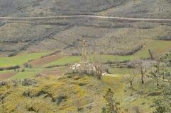 Härliga sikter av Kristus från ovannämnt i byn av Medinaceli Arkitektur historia, lopp royaltyfri fotografi