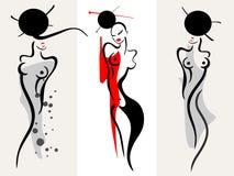 härliga silhouettekvinnor Fotografering för Bildbyråer