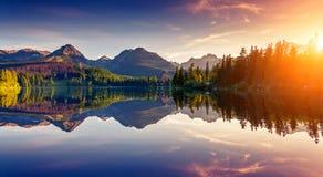 Härliga sjöar, skogar och soluppgångar i höst royaltyfria foton