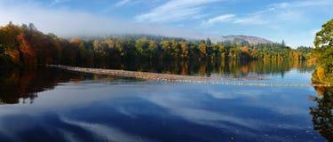 Härliga skogar runt om en sjö på den skotska höglandet Royaltyfri Bild