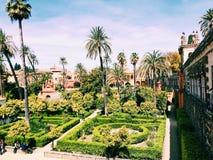 Härliga slottdetaljer i Sevilla Spain Arkivfoton