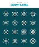 16 härliga snöflingor royaltyfri illustrationer