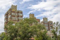 Härliga stadsbyggnader och träd Arkivbilder