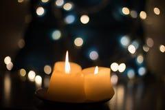Härliga stearinljus closeup Arkivfoton
