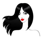 härliga svarta flickahår long royaltyfri illustrationer