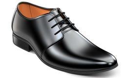 Härliga svarta läderskor för män Klassisk tolkning för kontorsskodon som 3d isoleras på vit bakgrund Royaltyfria Foton