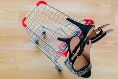 Härliga svarta skor för hög häl för sammet för damer som hänger på minut Royaltyfria Bilder