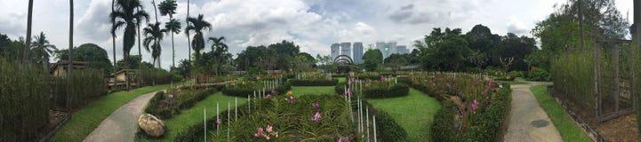 Härliga trädgårdar med springbrunn- och kolonnpelare av Kuala Lumpur fotografering för bildbyråer