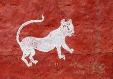Härliga traditionella målningar i byn nära Ranthambore Royaltyfri Fotografi