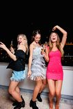 Härliga tre, gladlynta kvinnor som har en flickanatt ut och att ha gyckel Royaltyfri Foto