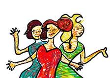 härliga tre kvinnor Fotografering för Bildbyråer