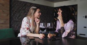 Härliga två damer har en stor afton tillsammans i pyjamasjubel med vinexponeringsglas som pratar och spenderar en bra tid stock video