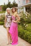 Härliga två unga kvinnor med blont hår, aftonmakeup, flickor Fotografering för Bildbyråer