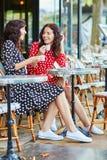 Härliga tvilling- systrar som dricker kaffe Royaltyfria Bilder