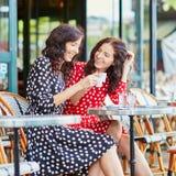 Härliga tvilling- systrar som dricker kaffe i Paris Royaltyfri Fotografi