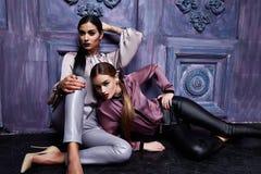 Härliga unga kläder för makeup för afton för hår för kvinna för affär två royaltyfri fotografi